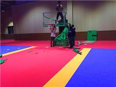 1500平方米柳州巡警队拼装塑胶地板篮球 羽毛球 乒乓球施工案例