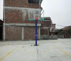 来宾球场篮球架安装划线