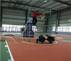 宁夏放城港室内篮球架安装